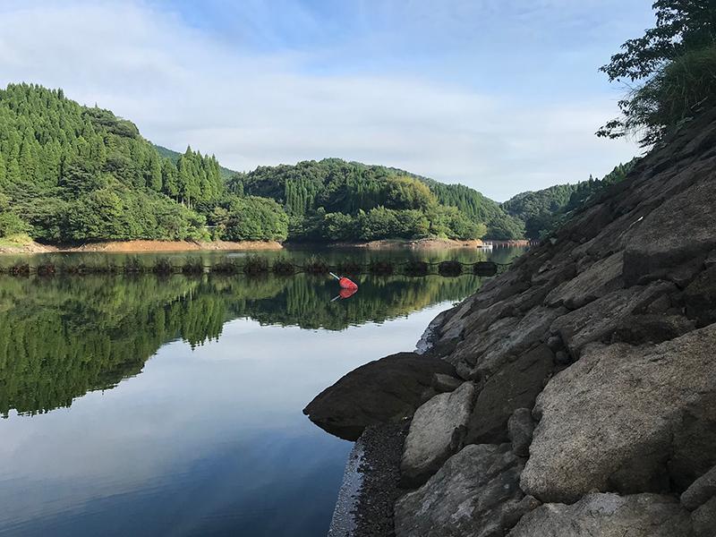 竹山ダムのロープ際